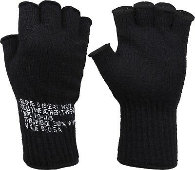 $10.99 • Buy Black Tactical Fingerless Military Glove Liner Inserts Wool Gloves USA Made