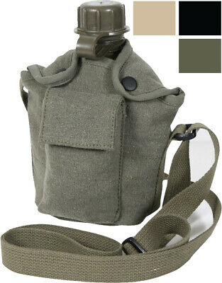 $ CDN22.77 • Buy 1 Qt Canteen & Cover Vintage Canvas Carry Strap Military Camping Hiking Travel