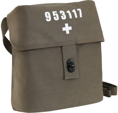 Olive Drab Swiss Military Canvas Shoulder Bag White Cross Large Carry Pouch • 8.58£