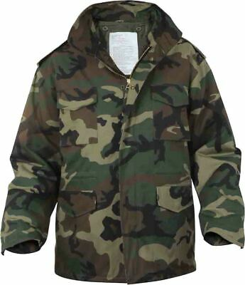 $90.99 • Buy Woodland Camouflage M-65 Field Jacket Army Camo M65 Coat With Liner
