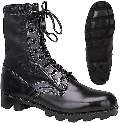 $36.99 • Buy Black Leather Military Jungle Boots Panama Sole Tactical Combat Army Vietnam