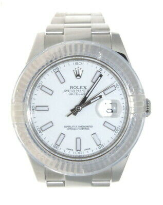 $ CDN12667.29 • Buy Rolex 18K White Gold & Steel Datejust II 116334 White Dial Fluted Bezel