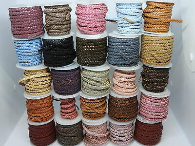 £3.29 • Buy Real Braided Flat Choti Leather Cord 5mm String Lace Thong For Jewellery Making