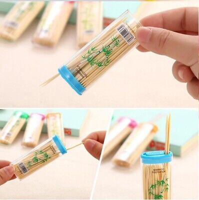 £2.95 • Buy 70 Wooden Dental Tooth Pick Bamboo Toothpicks With Portable Case Oral Hygiene