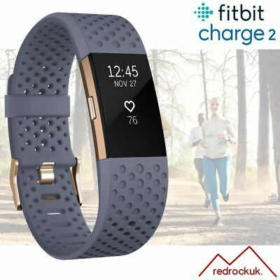 View Details Fitbit Charge 2 Special Edition Activity Tracker HRM - Grey Blue Gold / Small • 89.95£