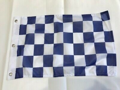 12x18 12 X18  Blue And White Checkered Race Flag With Grommets Boat Car Garden 2 • 5.06£