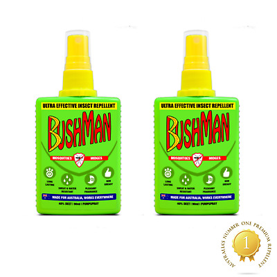 2 X Bushman Ultra Effective Insect, Mosquito, Midges Repellent Spray 90ml  • 9£