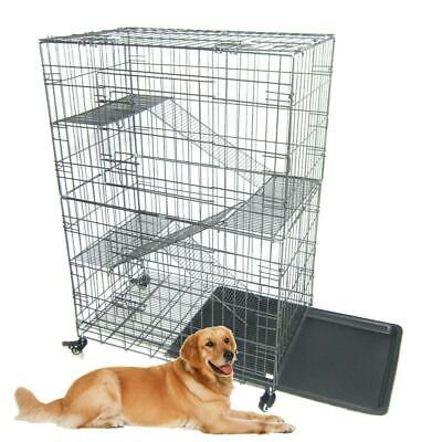 $58.95 • Buy Large Folding Collapsible Pet Dog Wire Cage Cat Playpen With 3 Ladders L Silver