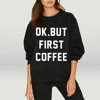 AU11.88 • Buy Women Pullover Letter Printed Loose Jumper Casual Long Sleeve Crew Neck Sweater