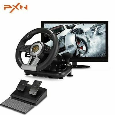 Steering Wheel And Pedal Set For Xbox One PC PS3 PS4 Vibration Joysticks Pedals • 110$