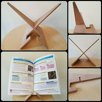 £12 • Buy Book Stand Tablet Recipe Cookbook IPad Plate Holder, Natural Ply Wood Wooden