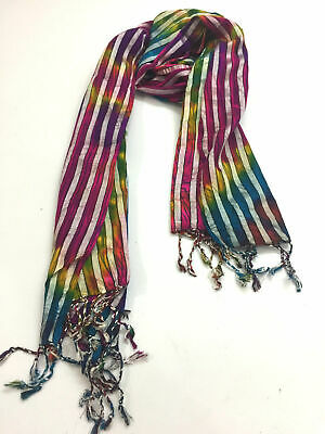 £4.99 • Buy Summer Colors Ladies Traditional Colorful Rainbow Hippie Boho Scarf 60 X 170 Cm
