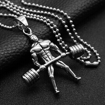 $9.26 • Buy Muscle Man Bodybuilder Dumbbell Barbell Silver Necklace Pendants Fitness Gym