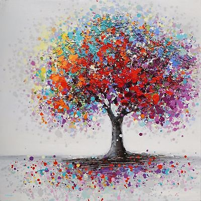Colourful Tree Abstract Painting - 24x24 Inch Large Framed Canvas • 25£