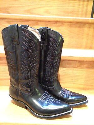 Women's Sancho Cowboy Boots All Leather Western Size 37 Or 7 US Black 2859 4090 • 56.76£