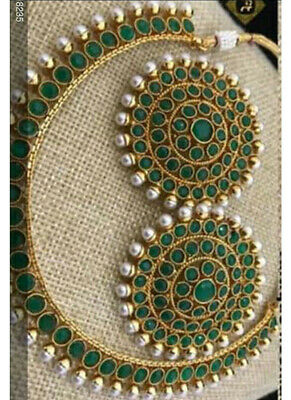 Indian Bollywood Copper Necklace Wedding Gold Plated Green Fashion Jewelry Party • 12.79$