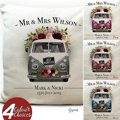 Personalised Wedding Gift Vintage Camper Van T1 Cushion Cover - 4 Colours 16Inch • 12.99£