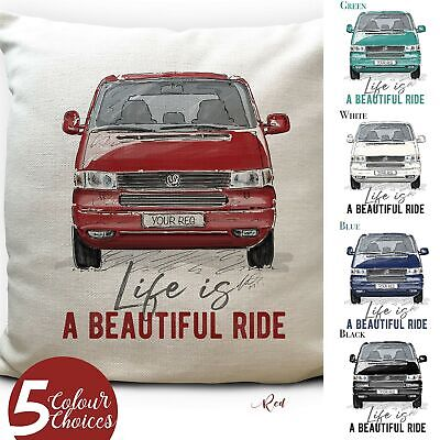Camper Van Transporter T4 Cushion Cover Gift 5 Colours Personalised Number Plate • 13.99£