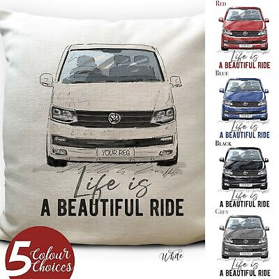 Camper Van Transporter T6 Cushion Cover Gift 5 Colours Personalised Number Plate • 13.99£