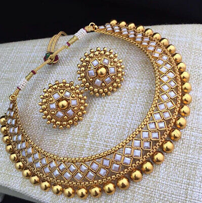 $12.95 • Buy Indian Bollywood Choker Copper Necklace Wedding Gold Plated Tone White  Jewelry