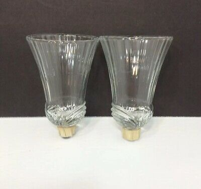 Homco Set Of 2 Homco Home Interiors Clear Celeste Votive Cups Fluted Top 5 Tall Vgc Collectibles Collectibles Decorative Collectible Brands