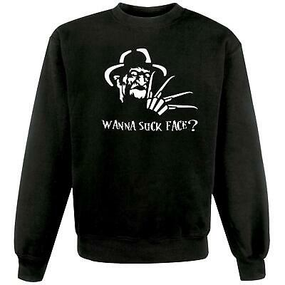 Unisex Black Freddy Krueger Wanna Suck Face Sweatshirt Jumper Fan Art Nightmare • 19.95£