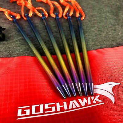 AU27.79 • Buy 6 Pcs Titanium Outdoor Camping Trip Tent Peg Hard Ground Nail Stakes With Bag