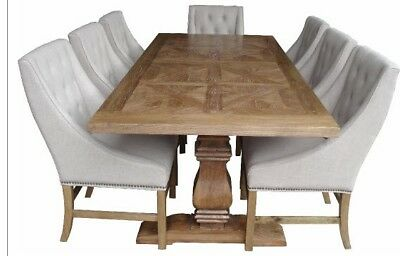 AU3829 • Buy Kensit Dining Table Elm/parquetry French Provincial 200 Cm/ 6 Hennessy Chairs