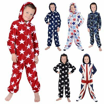 New Boys Hooded Fleece All In One Piece Pyjamas Jump Sleep Suit PJs Nightwear • 11£