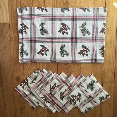 $ CDN39.99 • Buy Vintage Cotton Christmas Holly Pine Oblong Tablecloth Napkin Lot Of 9 Pieces