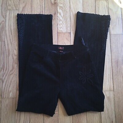 $ CDN31.99 • Buy Danier Suede Embroidered Lace Black Trousers Pants Size 4