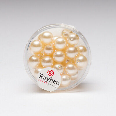 Rayher 8mm Renaissance Glass Wax Beads 30-Count Off-White Pearl 14402100 • 13.95$