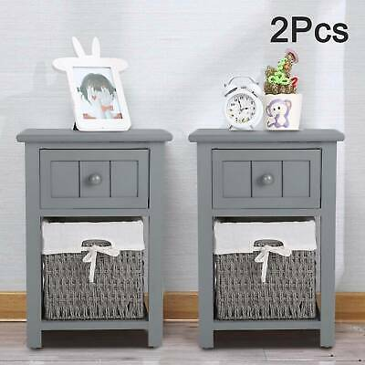 Pair Of Wooden Bedside Tables Night Stand Cabinet Storage Drawer Wicker Baskets • 47.99£