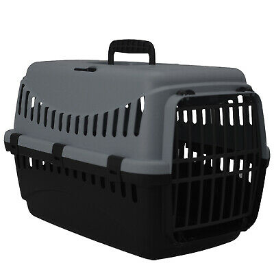Grey Portable Pet Carrier Cat Puppy Travel Cage Dog Carry Basket Transporter Box • 10.95£