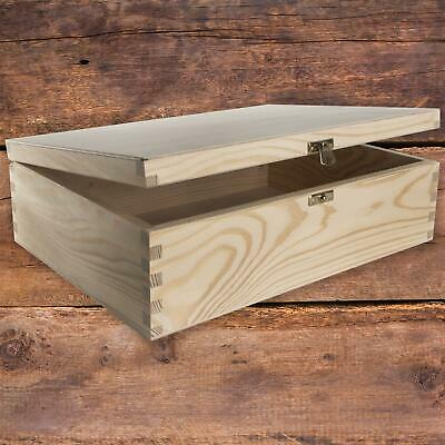 Wooden Box With Lid And Metal Clasp 34x25x10cm/ Plain Pine A4 Documents Storage • 14.95£