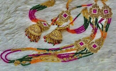 *UK SELLER* Bollywood Indian Gold Multicolour Earrings With Earchain Jhumka Set  • 18£