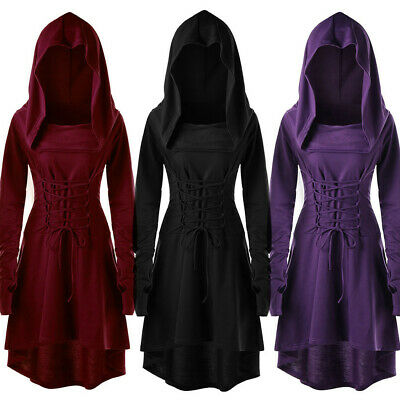 Women's Lace Up Hooded High Low Dress Halloween Cosplay Costumes Party Dresses • 21.44£