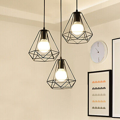 Industrial Geometric Light Shade Wire Frame Ceiling Pendant Lightshade Lampshade • 7.99£