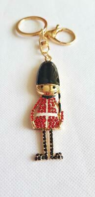 WOMEN'S SOLDIER KEYRING BAG CHARM  Gold Red Black Enamel & Diamante Style • 6£