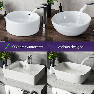 Bathroom Basin Sink Hand Wash Counter Top Wall Mounted Hung Ceramic • 32.99£