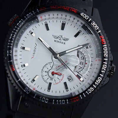 AU27.99 • Buy Automatic Mechanical Men??s Watch Rubber Strap Self-winding White Dial Auto Date