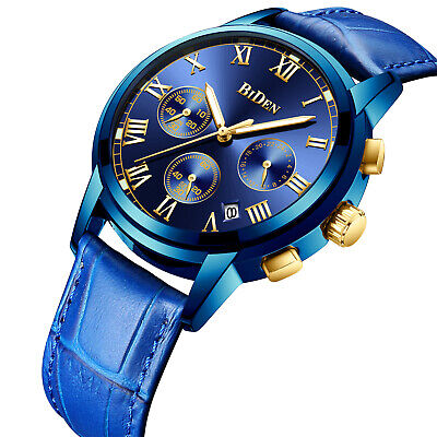 AU34.64 • Buy Mens Quartz Watch Blue Leather Strap 3-Dial Date Valentine's Day Gift Casual