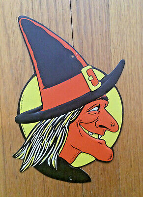 $ CDN31.41 • Buy Vintage Beistle H.E. Luhrs Die Cut Embossed Witch Moon Halloween Decoration