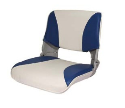 Folding Boat Helm Seat - Speed Boat Fishing - New (Moulded Base) White/Blue • 44.95£