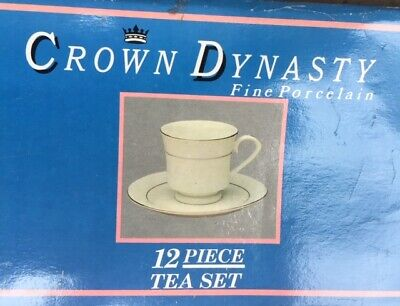 £20 • Buy **CROWN Dynasty** - Fine White Porcelain 12 Piece  Tea Set - With Silver Thread