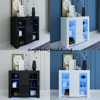 Cabinet LED Light Cupboard Matt Body Sideboard High Gross Doors TV Stand Unit • 79£