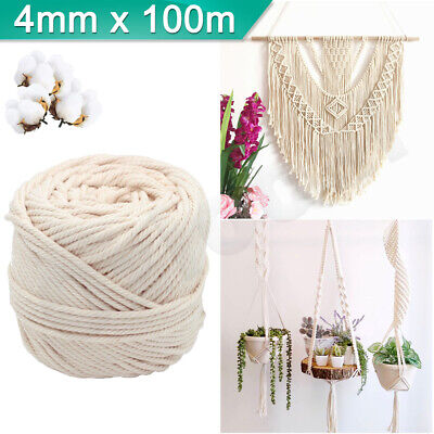 AU14.99 • Buy 4mm Macrame Rope Natural Beige Cotton Twisted Cord Artisan Hand Craft 100M