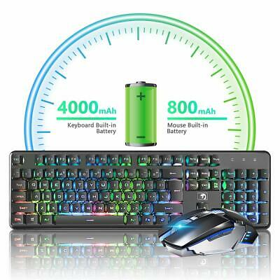 AU75.99 • Buy AU K620 Gaming Keyboard Mouse And Pad Set Rechargeable Wireless Rainbow Backlit