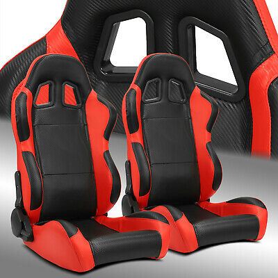 $330.69 • Buy 2 X Reclinable Black/Red Carbon Fiber PVC Leather Left/Right Racing Bucket Seats