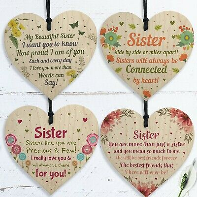 £3.99 • Buy Sister Poem Gifts For Christmas Birthday Wooden Hearts Gift From Brother Sister